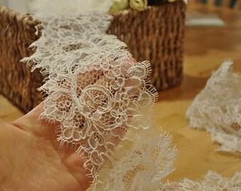 Ivory Eyelash Alencon Lace Fabric Trim for Bridal veil, Wedding Gown Bridal Dress
