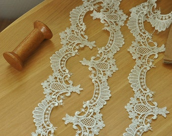 Ivory Venice Lace Trim, Crochet Bridal Lace Trim for Veils, Jewelry, Costume Design, 2 yards