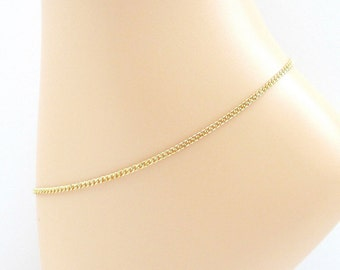 Jewelry brass anklet, 2mm curb chain anklet, gold ankle chain for men or women