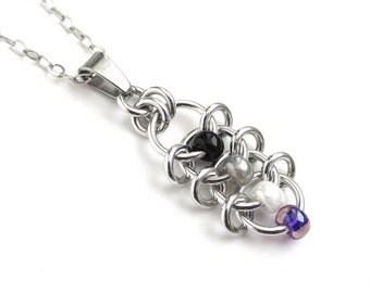 Ace pride pendant necklace, asexual pride chainmail jewelry, black gray white purple, Centipede weave