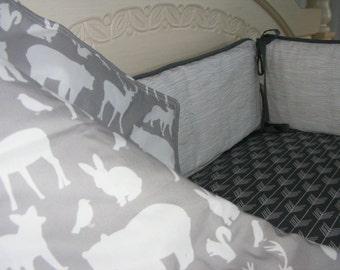 Grey White Woodland Premium Baby Bedding Crib Set Modern Woodgrain Arrows White Grey Set / 4 piece set