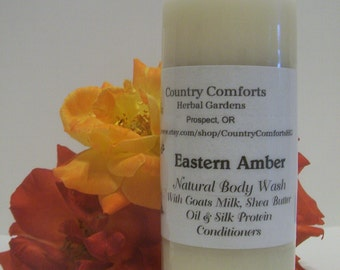 Eastern Amber Natural Body Wash - Goats Milk, Shea Butter Oil, Silk Protein Conditioners - 4 oz bottle