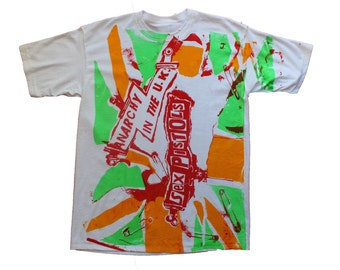 "Sex Pistols Punk T-shirt -Anarchy In The UK -Punk Flag -Rasta Colours- Jah Bless- screenprint- Sm 36""- Med 38""-L40"""