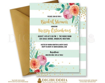 MINT & GOLD BRIDAL Shower Invitation Peach Pink Peonies Stripes Gold Glitter Confetti Printable Invite Rose Free Shipping or DiY- Krissy