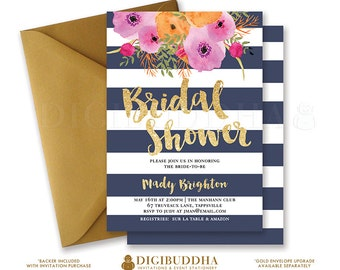 NAVY & GOLD BRIDAL Shower Invitation Navy Stripes Invite Gold Glitter Navy and Gold Flower Free Priority Shipping or DiY Printable- Mady
