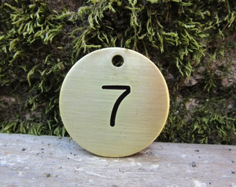 Number 7 Tag Brass Metal Round Tag #7 Industrial Tag Vintage Styled Keychain Address House Apartment Number Tag Jewelry Supply 1 1/2 Inch