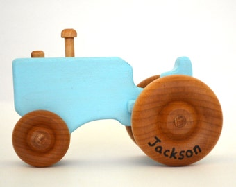 Personalized Baby Blue Toy Tractor