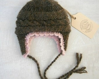 Newborn Baby Girl Hat - Hand Knitted Baby Hat - Baby Ear Flap Hat