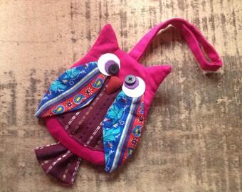 Pinky Pink Owl Zipper Pouch / Kids / Gift / Handmade Fabric / Colourful