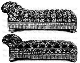 Antique Couch Sofa Clip Art Vintage Printable Furniture Digital Graphic Transfer Image jpg png