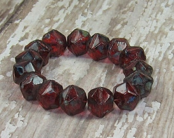 Red 10mm English Cut Bead Czech Glass Picasso Rustic RED WINE (10)