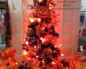 SOLD OOAK Light Up Halloween Christmas XMAS Tree Hand Painted Primitive Dept 56 Hand Made Pumpkin Witch Candy Corn Cauldron Ghost