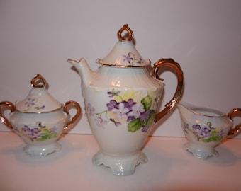 Porcelain Forget-Me-Not Teapot Creamer and Sugar SET,