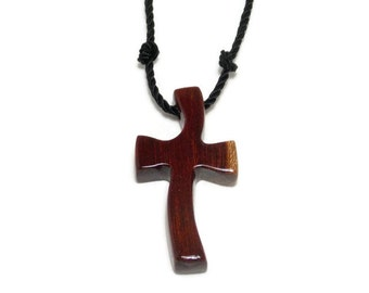 Wood Cross Necklace, Men's Cross Necklace, Carved Cross Pendant, South American Bloodwood
