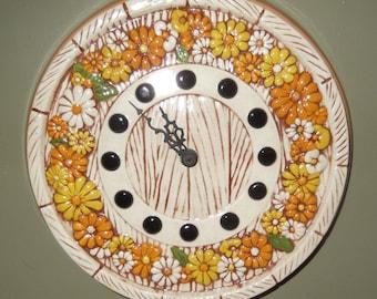 Vintage Wall Clock Daisy Wall Clock, 1970's Chic Quartz Wall Clock, Yellow and Orange Daisy Ceramic Wall Clock