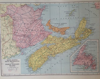 Vintage 1946 Hammond's Atlas Map Page (Nova Scotia / New Brunswick map on one side and Quebec map on the other side)