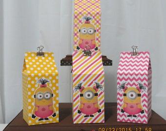 Girl Minion Milk Carton Favor/Treat Box (Set of 10)
