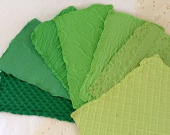 "Green - Handmade Paper - acid free - Recycled  - Texture - 7 sheets 5 1/2"" x 8 1/2"""