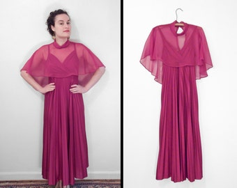 DISCO Garnet Dress 1970s Empire Waist Surplice Knife Pleated Sheer Capelet Small