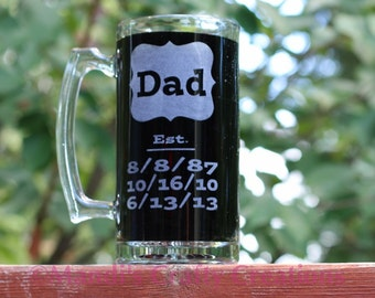Beer Stein - Beer Glass - Personalized Beer Stein - Personalized Beer Glass - Fathers Day Gift - Baby Shower Gifts - Est Glass