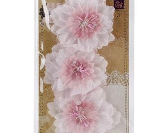 "Prima Marketing ""Lyric"" pink fabric flower set of 3 - #564605"