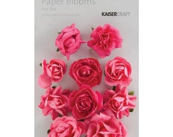 Paper Blooms; Hot Pink Paper Flowers by Kaisercraft - Set of 10 - Fuschia Flowers