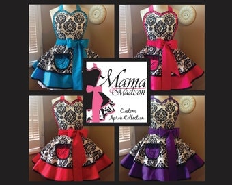 Damask Print Woman's Retro Apron...You Choose Color, Featuring Heart Shaped Bib and Custom Monogrammed Pocket