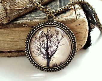SALE - The Dawn Tree Necklace - Tree Silhouette Pendant in Bronze or Silver