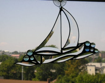 Stained Glass Art Suncatcher|Sailboat Suncatcher|Sailboat|Nautical Suncatcher|Art & Collectibles|Glass Art|Handcrafted|Made in USA