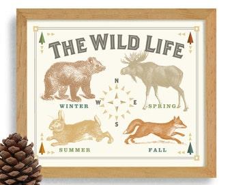 Fun Mans Gift Camping Art Print Woodland Animals Outdoorsman Nature Lover Gift Animal Lover Cabin Decor Bar Art Nature Decor