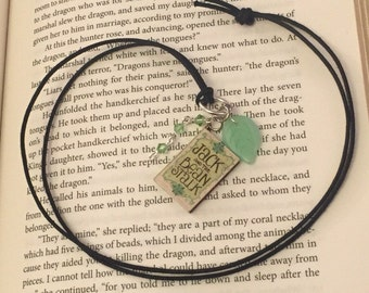 "Jack and the Beanstalk Book Charm Pendant Necklace ""Fee Fi Fo Fum"""