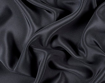 "45"" Wide 100% Silk 4 Ply Crepe Black by the yard"