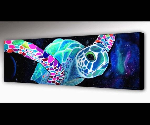 Sea Turtle Wall Art sea turtle wall art outer space surf art sea turtle