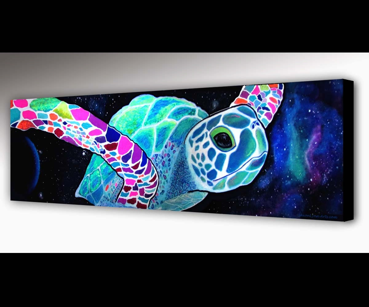 Sea turtle wall art outer space surf art sea turtle for Outer painting design