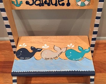 Personalized Whale or Sailing Theme Step stool