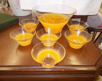 Tangerine Blendo Bowl Set West Virginia Glass Desert Ice Cream Mustard Master Bowl Salad Serving Bowl Set