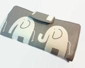 Elephant Women's Wallet, Credit Card Organizer, 2 Money Pockets, Zippered Coin Pocket