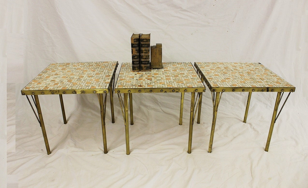 Mid century modern danish small accent tables tile and - Petite table haute ...