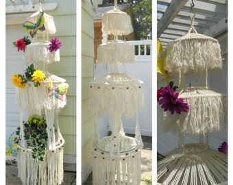 Macrame Table, Plant Hanger,Unique,1970's HANDMADE Vintage,7ft tall, garden unique, porch hanger, decoration, one of two that are  available