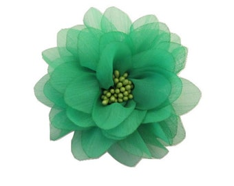 """Green Chiffon Flower. 4"""" Green Chiffon Flower. 1 pc. ISLA Collection."""