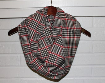Classic Black, Tan and Red Plaid Flannel Infinity Scarf - Circle, Tube, neutral, warm, soft, trendy, basic, fall, winter, christmas, gift