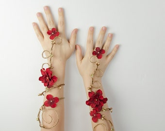 Gold and red fairy arm cuffs