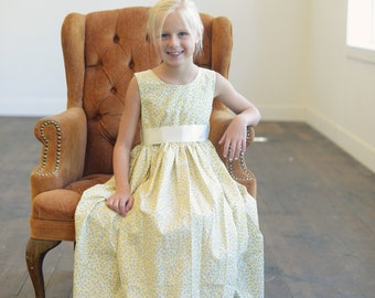 Lemon yellow floral print flower girl dress