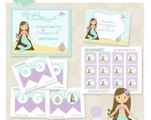 Mint and Purple Little Mermaid 1st Birthday Party Package- Printable PDF files. Ariel Mermaid in purple and mint