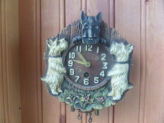 Antique Lux Clock Scottie Animated Pendulum Clock Vintage
