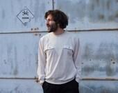 Vintage Off White Quilted Sweatshirt Mens Sports Jumper