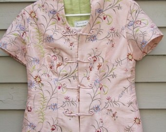 Vintage Embroidered Asian Jacket with frog closures ala 1990