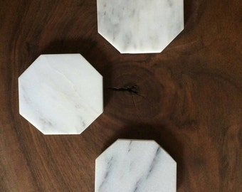 Carrara Marble Octagon Coasters.  Set of 4