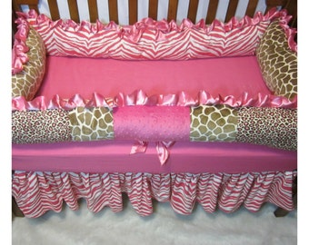 Baby Bedding Pink and Brown Animal Print Crib Set