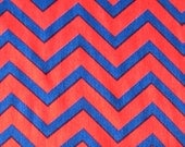 Red & Blue Chevron Fabric by the meter